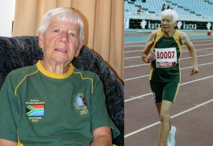 Mavis Hutshison at home in Fish Hoek & Competing in Spain in 2005 / Photo Credits: Viv von der Heyden / Mavis Hutchison