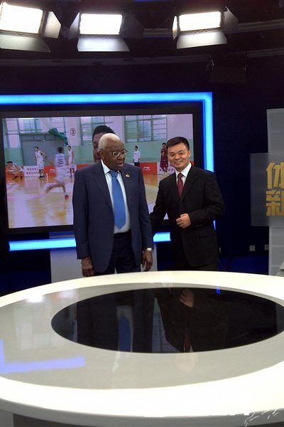 IAAF President Lamine Diack with Jiang Heping in one of the production studios at CCTV Tower / Photo: IAAF