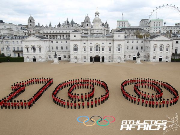 Photo Credit: LOCOG / Guardsmen from the Grenadier, Coldstream, Scots and Welsh Guards mark 100 days to go