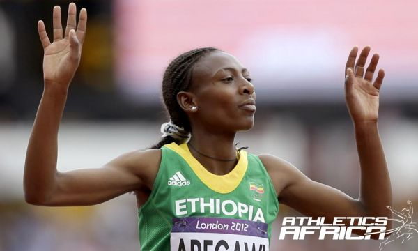 Abeba Aregawi representing Ethiopia at the London 2012 Olympics