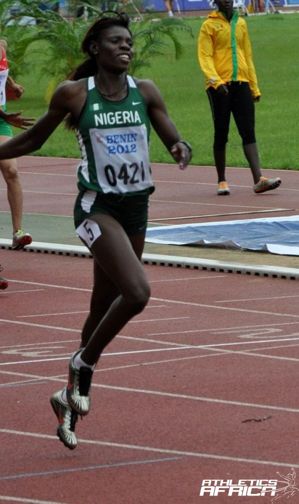 Ajoke Odumosu winning the African Championships in Porto-Novo in June 2012 / Photo credit: Yomi Omogbeja