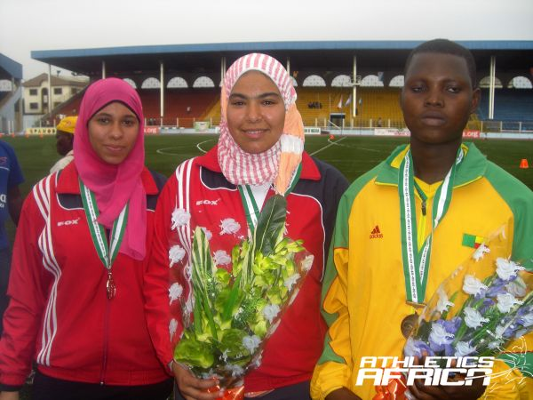 Egypt's Amira Khaled Mahmoud and Fatima Khaled Abdul with Togo's Carine Koukou / Photo credit: Tunde Eludini