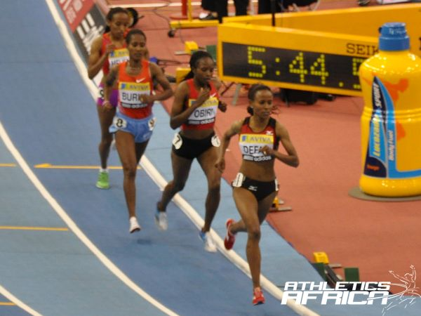Defar leads Obiri and Burka during the 3000m yesterday/ Photo: Yomi Omogbeja