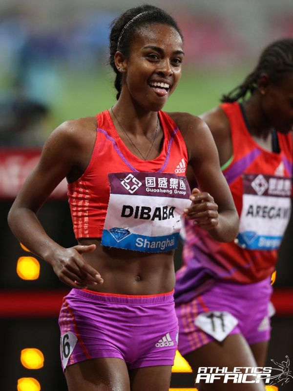 Genzebe Dibaba wins in Shanghai DL / Photo credit: Xinhua/Meng Yongmin