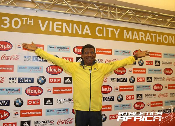 Haile Gebrselassie at the press conference in Vienna. Photo Credit: Giancarlo Colombo / photorun.net
