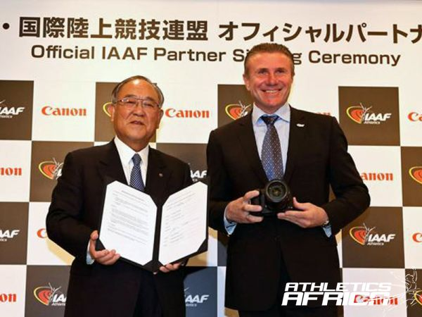 Fujio Mitarai, Chairman and CEO of Canon Inc. and Sergey Bubka, IAAF Vice-President at the Canon Official IAAF Partner signing ceremony in Japan (Canon)Fujio Mitarai, Chairman and CEO of Canon Inc, and Sergey Bubka, IAAF Vice-President at the Canon Official IAAF Partner signing ceremony in Japan/ Photo:Canon