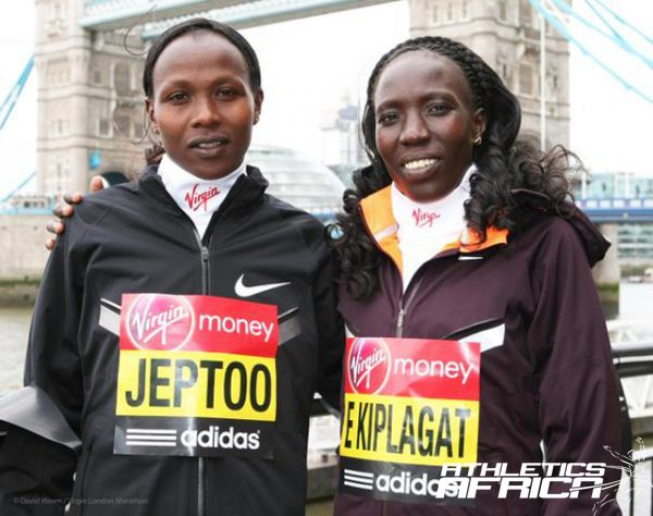 Priscah Jeptoo and Edna Kiplagat in London / Photos from the Virgin London Marathon team