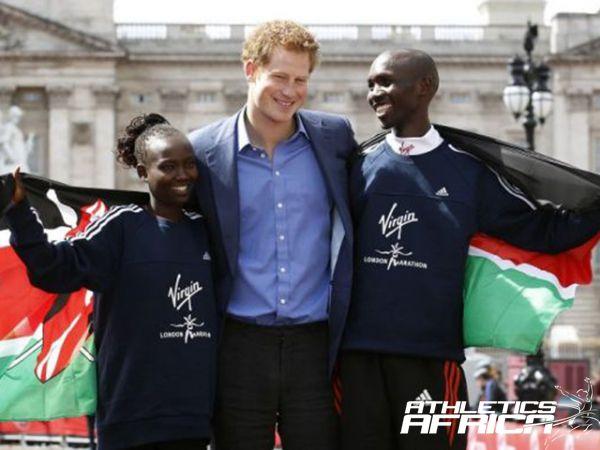 Prince Harry with Mary Keitany & Wilson Kipsang / Photo: Reuters