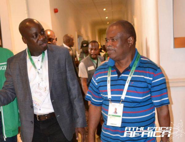 Nigerian Sports Minister, Bolaji Abdulahi & AFN President, Solomon Ogba / Photo Credit: Segun Ogunfeyitimi