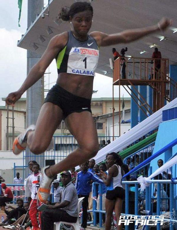 Blessing Okagbare soaring to 6.97m in Calabar / Photo: Segun Ogunfeyintimi