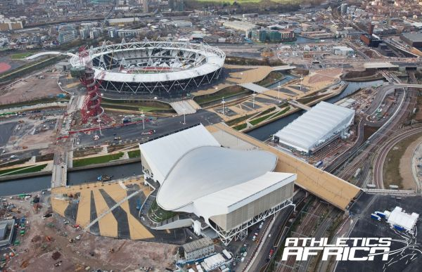 Aerial view of the Aquatics Centre and the Olympic Stadium / © ODA