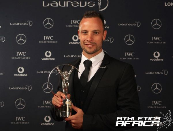 Oscar Pistorius of South Africa at the Winners Studio during the 2012 Laureus World Sports Awards at Central Hall Westminster on February 6, 2012 in London, England. (Photo by Tom Shaw/Getty Images for Laureus)
