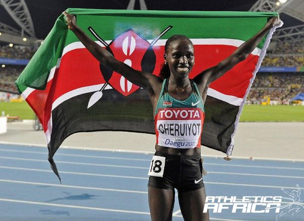 Kenyan Vivian Cheruiyot at the Daegu 2011 IAAF World Championships