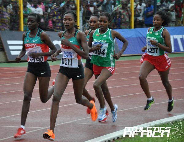 Kenya women lead in the 10,000m race/ Photo: Yomi Omogbeja