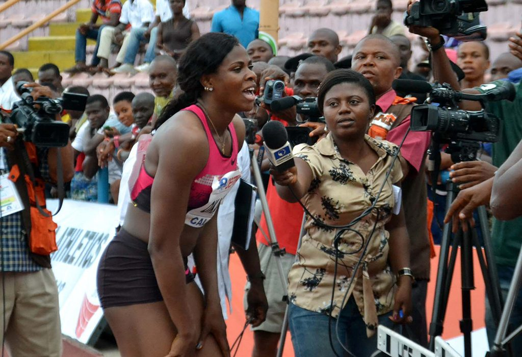 Blessing Okagbare speaking to the media in Calabar 2013 / Photo: @Shengolpixs