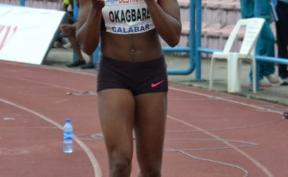 Blessing Okagbare winning the 100m race in Calabar 2013 / Photo: @Shengolpixs