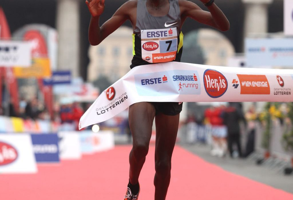 Henry Sugut winning the Vienna City Marathon in 2012. Credit essential: photorun.net / Jean-Pierre Durand