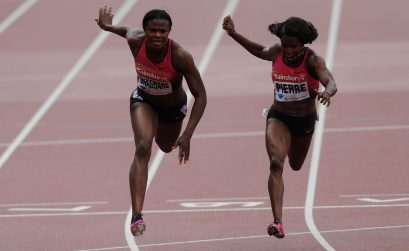 (L-R) Blessing Okagbare of Nigeria crosses the line ahead of Barbara Pierre of the United States in the Women's 100m Final during day two of the Sainsbury's Anniversary Games - IAAF Diamond League 2013 at The Queen Elizabeth Olympic Park on July 27, 2013 in London, England. (Photo by Harry Engels/Getty Images)