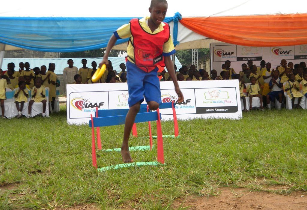 Flag off of the IAAF/Nestle Healthy Kids Athletics in Lagos on 25/07 2013. Photo Sunday Eshiet