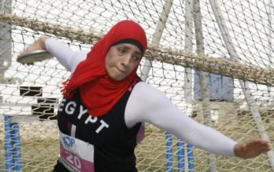 Egyptian Fadya El Kasaby, 19, won the women's Discus with a throw of 42.71m