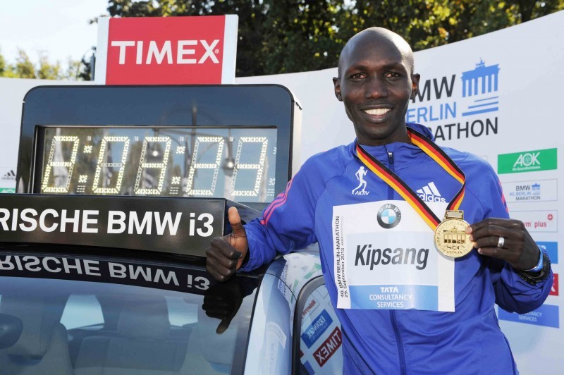 Wilson Kipsang and his new world record. © SCC EVENTS/Jiro Mochizuki