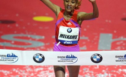 Ethiopian Meselech Melkamu winning the Frankfurt Marathon in 2012/ Photo: PhotoRun.net