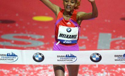 Ethiopian Meselech Melkamu winning the Frankfurt Marathon in 2012/ Photo: PhotoRun.net