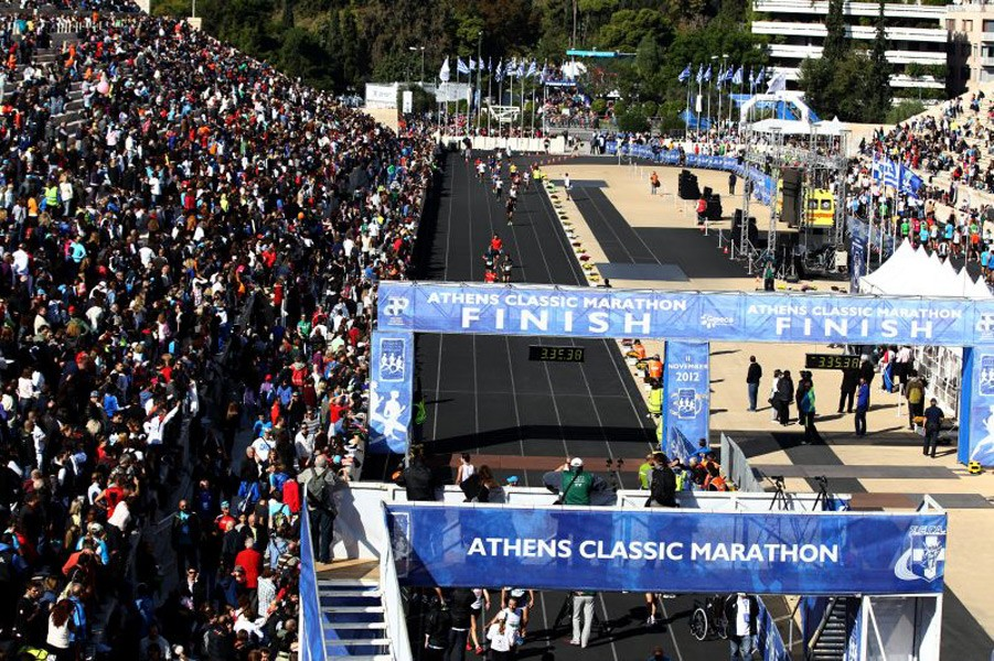 The unique finish inside the Panathinaikon Stadium in Athens. Photo credit: Athens Classic Marathon