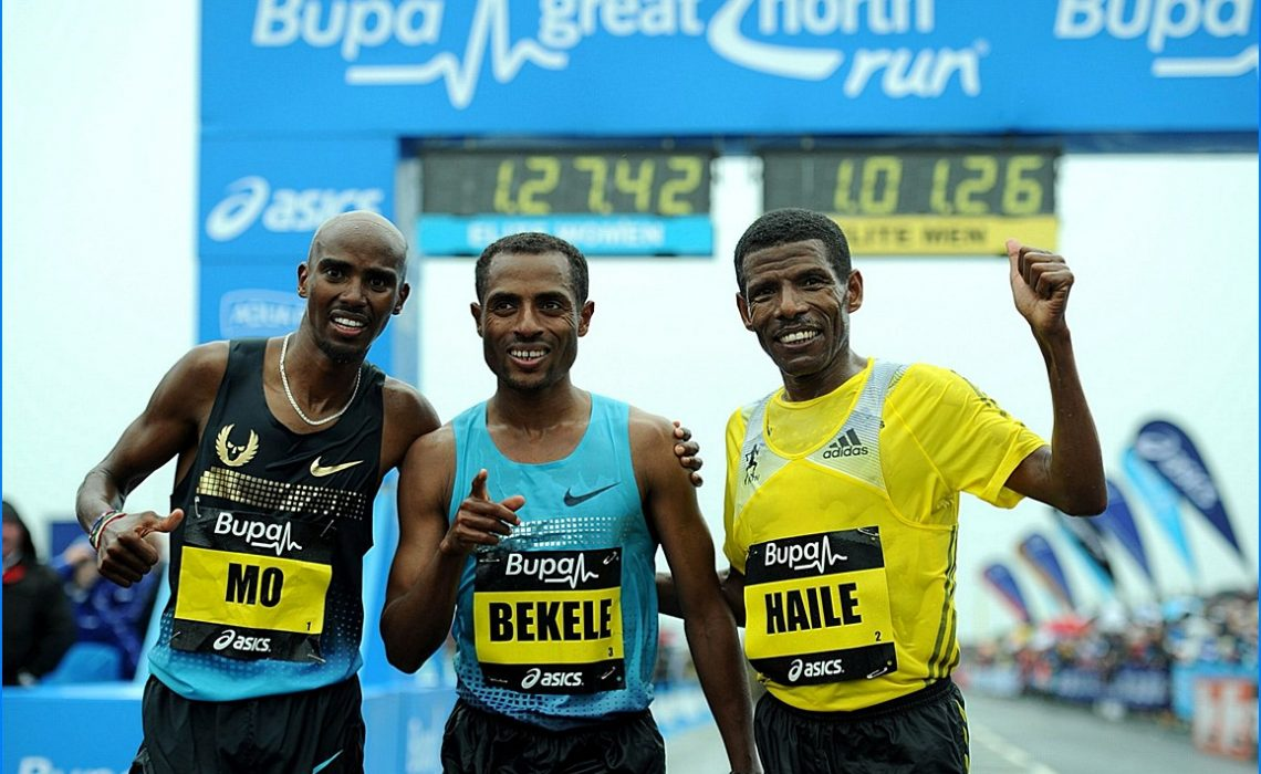 Kenenisa Bekele celebrated his success on the podium alongside Farah and Haile Gebrselassie, also from Ethiopia, who came third