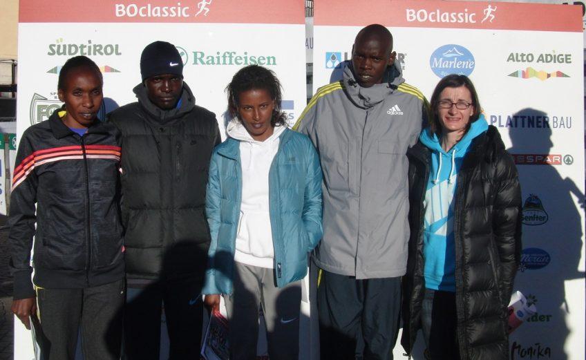 Gladys Cherono, Edwin Soi, Maryam Jamal, Wilson Kiprop, Christelle Daunay (Photo: BOclassic/Markus Kaserer)