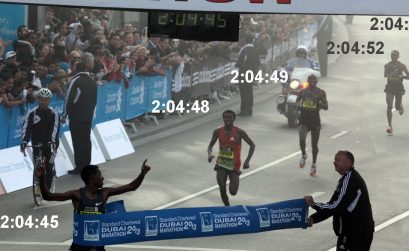 Dubai's unprecedented finish in 2013: Five runners achieved times of sub 2:05, with Lelisa Desisa winning the title / Photo credit: Helmut Winter.