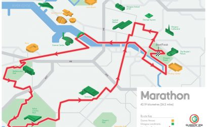 Glasgow 2014 Marathon Route Map
