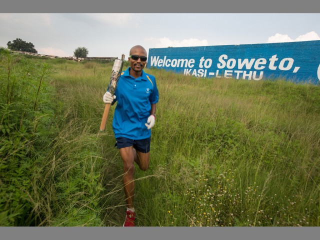 The Queen's Baton visited Soweto, where it was carried by marathon runner Bongani Possa, Johannesburg, South Africa, on Monday 10 February 2014