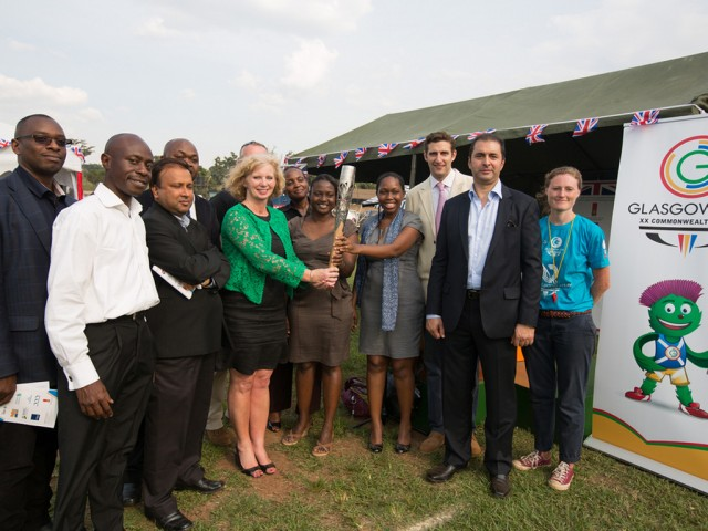 The British High Commissioner to Uganda HE Alison Blackburne and dignitaries at a sports event and reception organised by the British High Commission, to honour the Queen's Baton, in Kampala, Uganda, on Tuesday 14 January 2014 / Glasgow 2014 OC Flickr