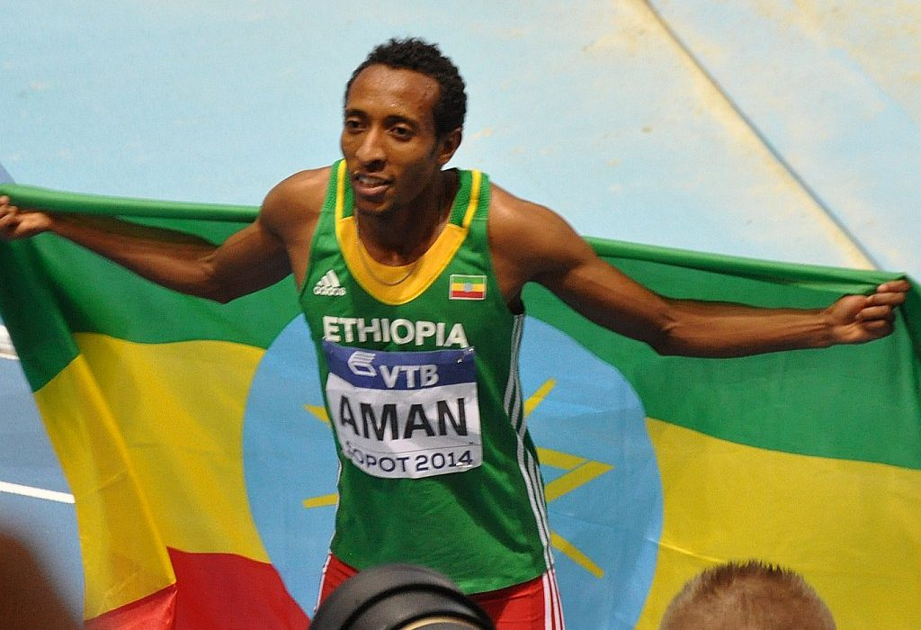 Mohammed Aman celebrates winning the 800m Men in Sopot 2014/ Photo credit: Yomi Omogbeja