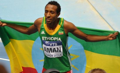 Mohammed Aman celebrates winning the 800m Men in Sopot 2014/ Photo credit: Yomi Omogbeja