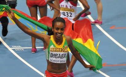 Genzebe Dibaba wins the women's 3000m in 8:55.04 ahead of Kenya's Hellen Onsando Obiri (8:57.72) in Sopot / Photo Credit: Yomi Omogbeja
