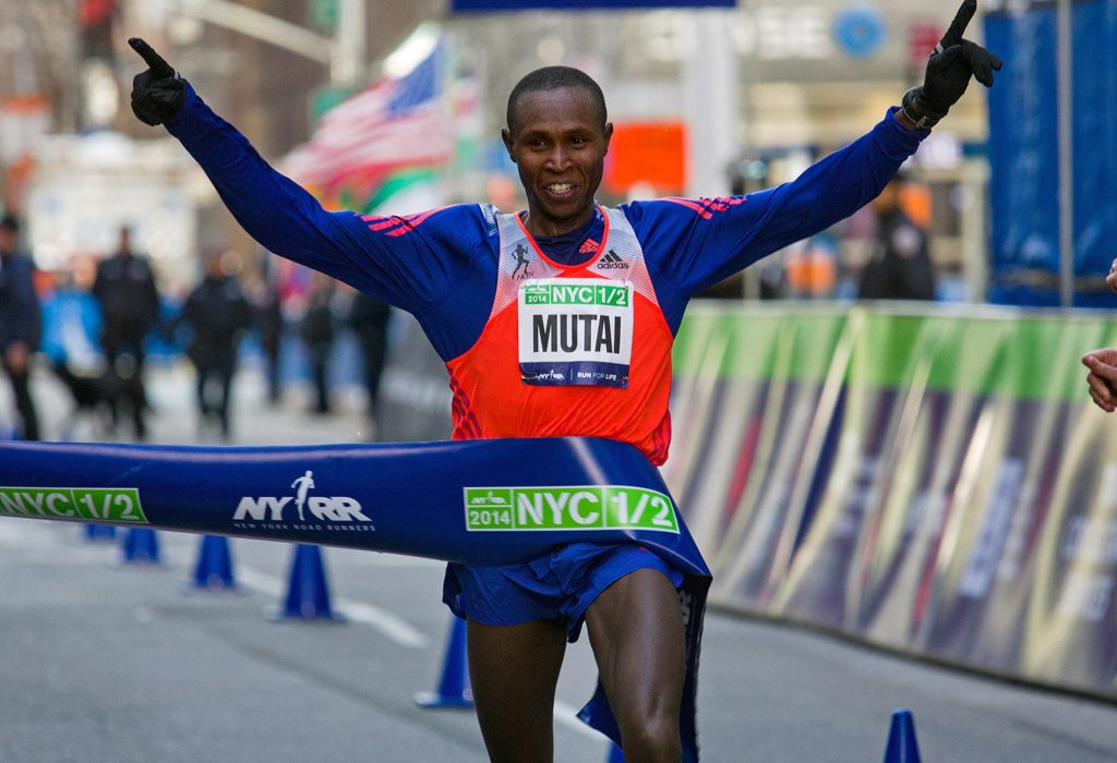 Geoffrey Mutai of Kenya crossed the finish line on Sunday to win the New York City Half Marathon. Credit Craig Ruttle/Associated Press