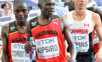 Moses Ndiema Kipsiro and Stephen Torotich at Moscow 2013 / Photo credit: Yomi Omogbeja
