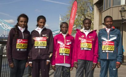 Priscah Jeptoo, Tirunesh Dibaba and other ladies at 2014 London Marathon