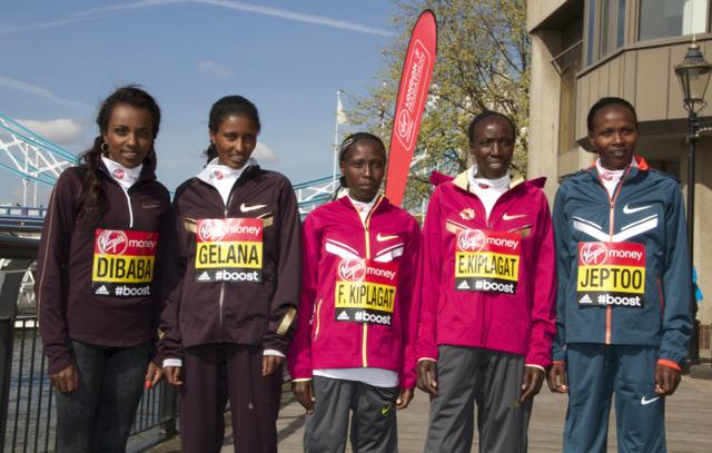 Priscah Jeptoo, Tirunesh Dibaba and other ladies at 2014 London Marathon