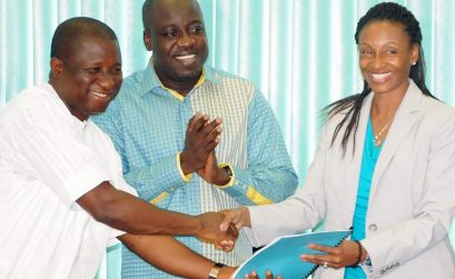 Nigeria Sport Minister Bolaji Abdulahi, Director General of the National Sports Commission, Gbenga Elegbeleye and National High Performance Director, Angie Taylor at the latter's unveiling to the public.