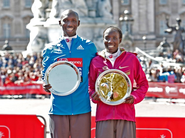 2014 Virgin Money London Marathon winners: Edna Kiplagat and Wilson Kipsang / Photo credit: VMLM 2014