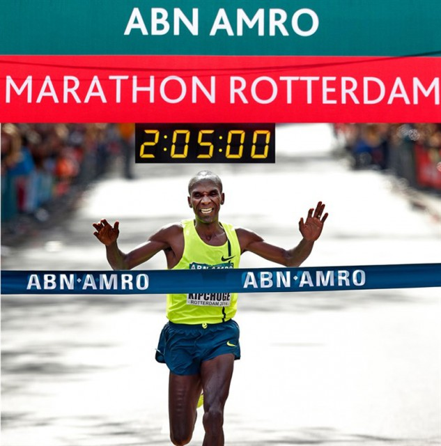 Eliud Kipchoge won the 34th ABN AMRO Rotterdam Marathon on Sunday in the Dutch port city.