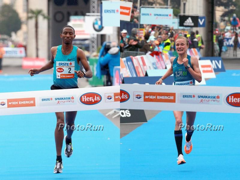Ethiopian Getu Feleke and German Anna Hahner winning the Vienna City Marathon / Photo Credit: PhotoRun.net
