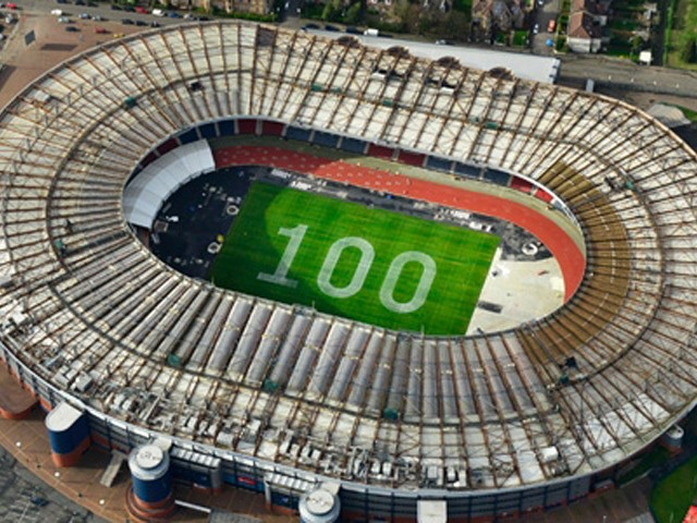 XX Commonwealth Games with a stunning aerial shot of Hampden Park