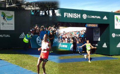 Lesotho's Lebenya Nkoka and Russia's Nina Podnebesnova wins the 56km Old Mutual Two Oceans Marathon 2014