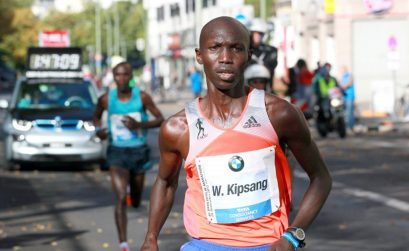 Wilson Kipsang from Kenya winning the Berlin Marathon in 2013