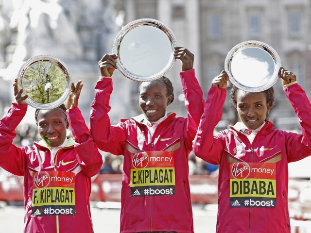 The women podium finishers - Edna Kiplagat, Florence Kiplagat and Tirunesh Dibaba / Photo credit: VMLM 2014