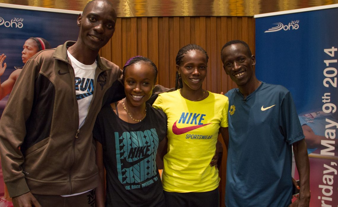Kenyan athletes Asbel Kiprop, Eunice Sum, Ezekiel Kemboi and Mercy Cherono met with the media at the Intercontinental – The City Hotel / Photo credit: IDL Doha